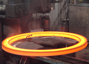 Heated steel rolled ring